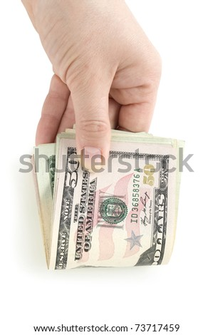dollars in hand isolated on white - stock photo