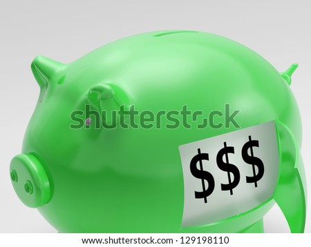 Dollars In Piggy Showing Wealth And Success