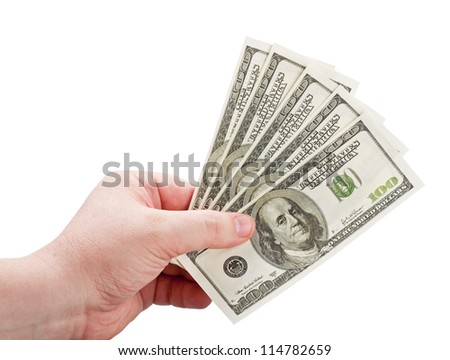 dollars in the man's hand isolated on white background