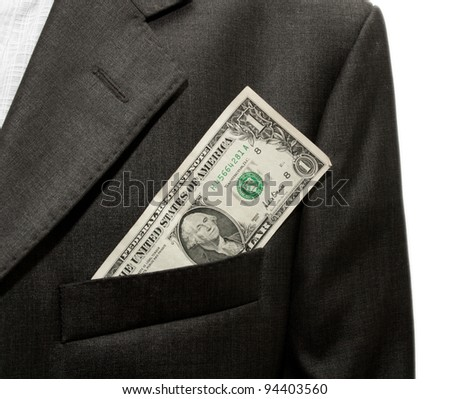 dollars in the pocket of a jacket
