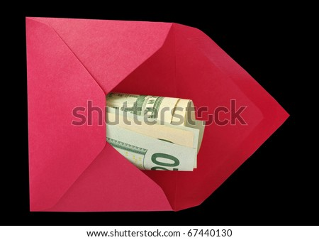 Dollars in the red open envelope isolated on a black background with work paths.