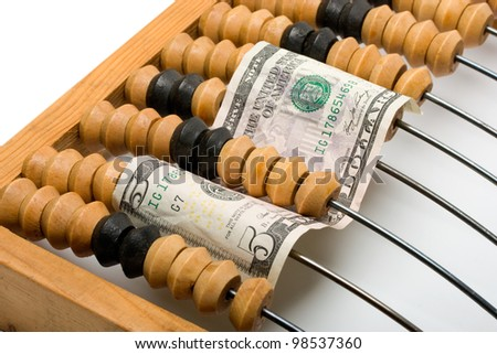 dollars in wooden abacus isolated on white background