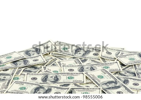 Dollars isolated on a white