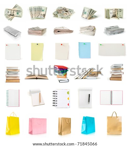 dollars, newspapers, pages, books, notebooks and shopping bags collection isolated on white