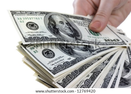 Dollars notes are in womanish hands
