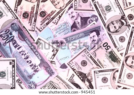 Dollars & old Dinars (Of course, this Iraqi money is not used anymore)
