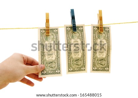Dollars on the wire isolated on white.  - stock photo