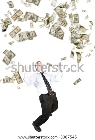 Dollars raining,  or a man throwing dollars