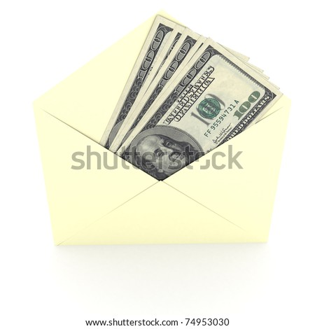 Dollars sign in envelope over white background. computer generated image