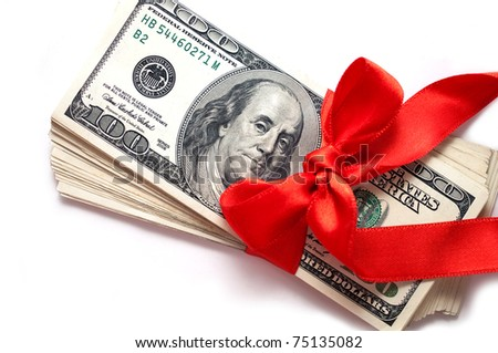 dollars with red ribbon isolated on white