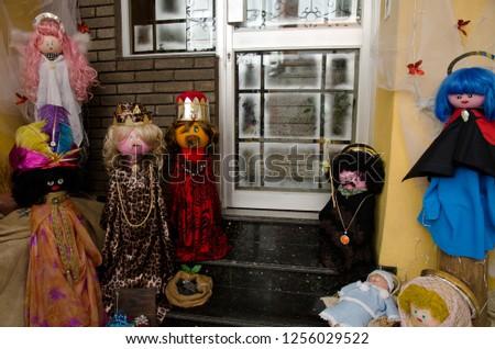 Dolls representing the nativity scene (the child Jesus, Mary, Joseph, the Magi and the angels). Schamann. Las Palmas de Gran Canaria. Gran Canaria. Spain. #1256029522