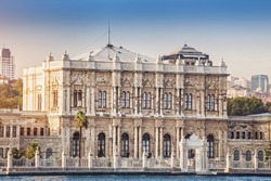 Dolmabahce Palace view from Bosphorus strait in Istanbul Turkey from ferry on a sunny summer day