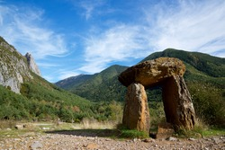 Dolmen of Santa Elena in Biescas, Tena Valley in the Pyrenees, Huesca province, Aragon in Spain.