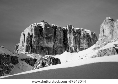 dolomites in winter, mountain panorama world heritage humanity