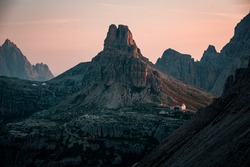 Dolomites mountains during sunrise, sunset, unbelievable peaks in nice weather conditions and colorful scene. Amazing summer nature with mood and light.