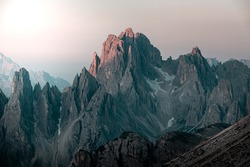 Dolomites mountains, unbelievable peaks in nice weather conditions. Amazing summer nature with mood and light.