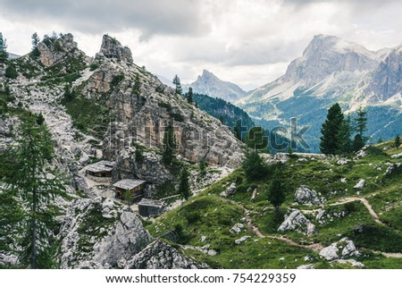 Dolomiti world war remnants. Historical sight of world war mountain hide outs in Dolomity, Italy, Cinque Torri.