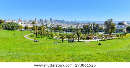 Dolores Park, Downtown San Francisco in Background - California