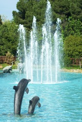 dolphin figures in the park pond