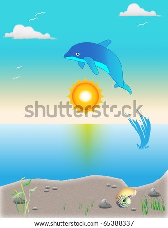 Dolphin playing during sunset