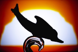 Dolphin Silhouette - Silhouette Jumping Dolphin fish isolated on sunrise background.