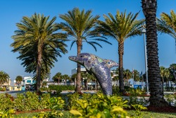 dolphin statue in Clearwater Florida