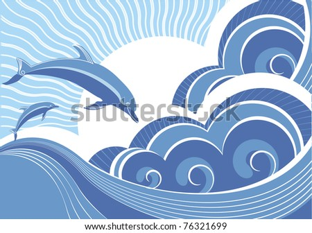 Dolphins in blue sea wave.Cartoons seascape.Mesh.Raster