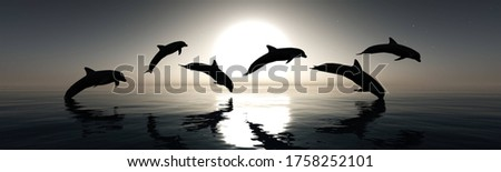 Dolphins play at sunset, 3D rendering Photo stock ©