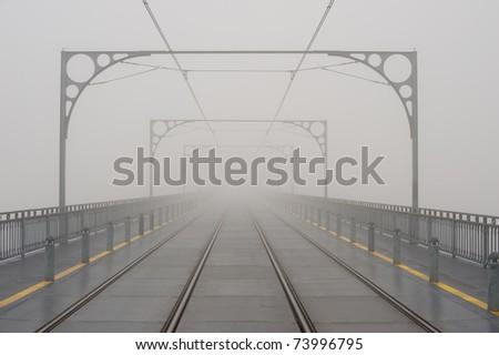 Dom luis bridge in fog - Porto portugal