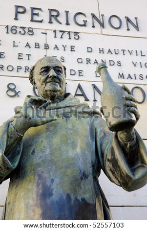 Dom Perignon statue, Epernay, Champagne Region, France