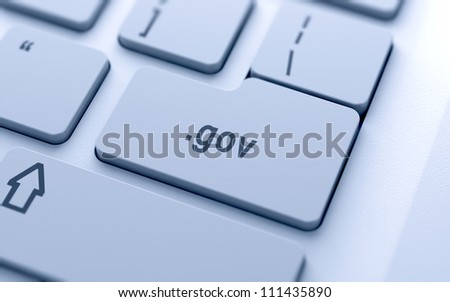 Domain name button on keyboard with soft focus