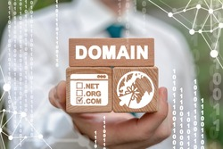 Domain Name Internet Website Concept. Domains Registration Web Service.