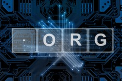 Domain names and internet concept with dot org on futuristic dark blue network background.