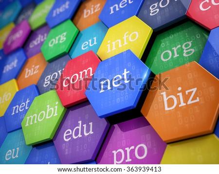 Domain names - internet and web telecommunication concept Stock photo ©