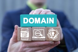 Domains name registration internet website hosting technology on mobile devices. Man holds colorful blocks with domain conceptual banner. Web Hosting Concept.