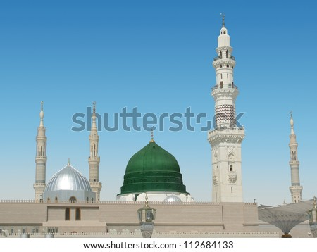 Dome and minarets of masjid nabvi