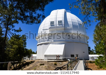 Dome housing the historical Hooker 100-inch telescope (completed in 1917); Mt Wilson, San Gabriel mountains, Los Angeles county, California
