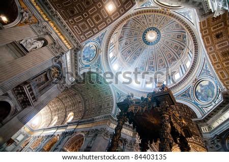 Dome in St. Peter's Basilica and Bernini's Baldacchino