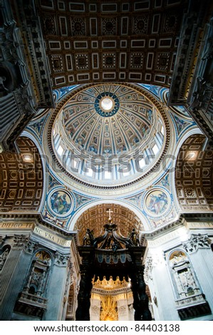Dome in St. Peter's Basilica and Bernini's Baldacchino