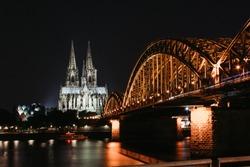 Dome of Cologne at night illumination hohenzollern
