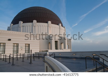 Dome of Griffith Observatory in Los Angeles, California, at Dusk.
