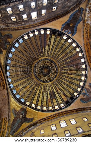 Dome of Hagia Sophia basilica. It is the first time that hidden angel image is being visible to the visitors after scaffolding removed