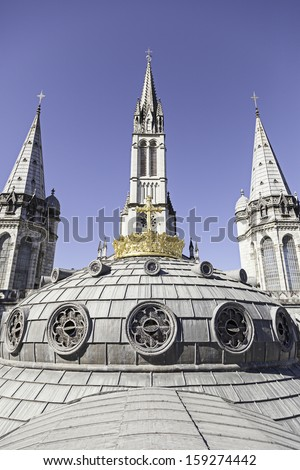 Dome of Lourdes Church, detail of a roof of a Christian church, belief and faith