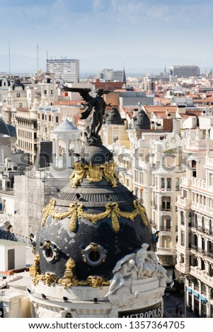 Dome of Metropolis building, Madrid, Spain  #1357364705