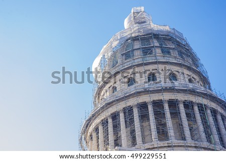 Dome of National Capitol Building used as the seat of government until the Cuban Revolution in 1959.