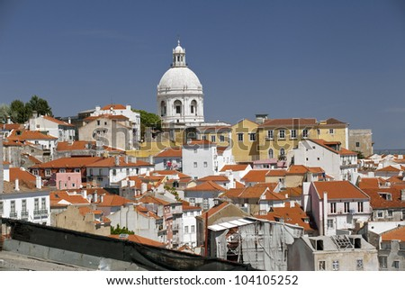 Dome of National Pantheon in Lisbon as it seen from Miradouro das Portas do Sol.