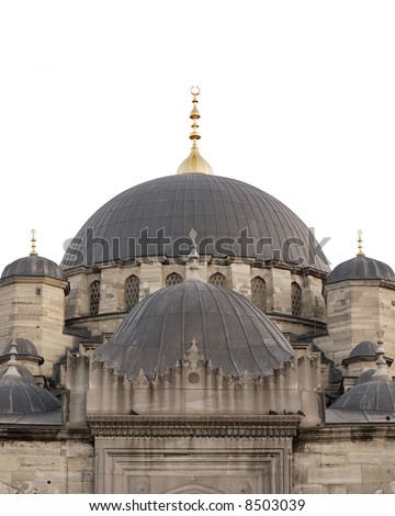 Dome of New Mosque in Istanbul Turkey, isolated on white, sky can be added by designer