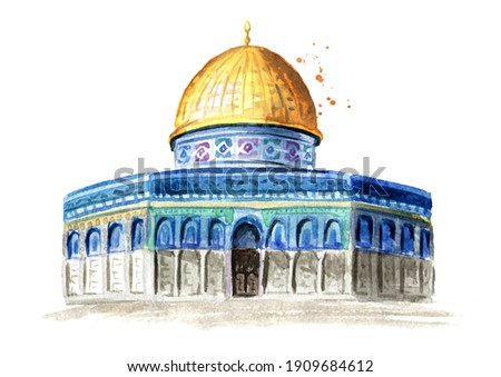 Dome of Rock or Qubbatus Sakhra in Masjidil Aqsa compound on the Temple Mount in Jerusalem, Israel. Hand drawn watercolor illustration, isolated on white background