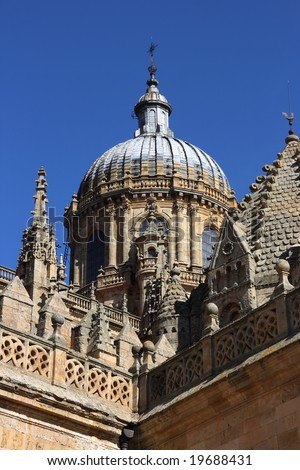 Dome of Salamanca new cathedral. Beautiful sandstone architecture. Gothic and baroque styles.