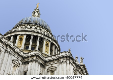 Dome of St Paul's Cathedral. Clear sky for copy space.